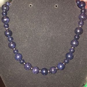 Blue Sandstone and Hematite Necklace